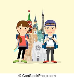 Traveling couple cartoon character
