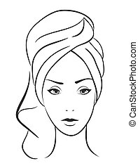 beauty woman with towel. Vector hand draw illustration