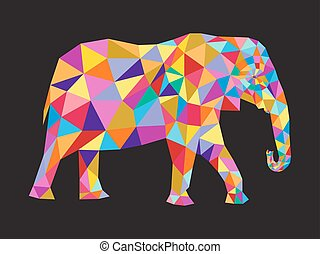 elephant - colorfull elephant abstract card. Vector...