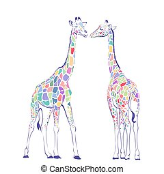 giraffes - Card with cute giraffes for Valentin day.