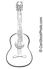 Guitar - Classical acoustic guitar. Vector monochrome...