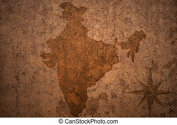 india map on vintage crack paper background - india map on a...