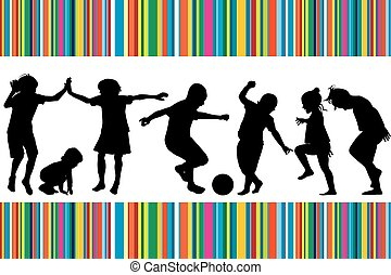 Card with silhouettes of children playing and colored...