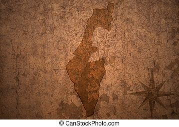 israel map on vintage crack paper background - israel map on...