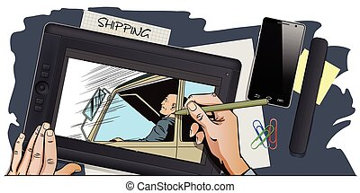 Driver behind wheel of truck. - Stock illustration. People...