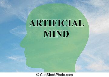 Artificial Mind - mental concept - Render illustration of...