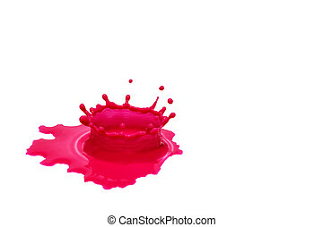 Red color water splash isolated