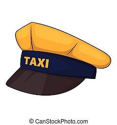 Cap taxi driver icon, cartoon style - Cap taxi driver icon...