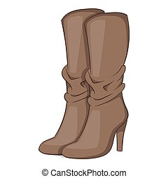 Womens boots high heel icon, cartoon style