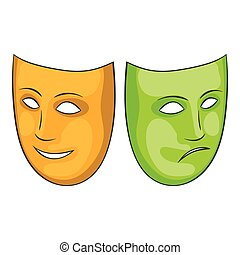 Happy and sad mask icon, cartoon style - Happy and sad mask...