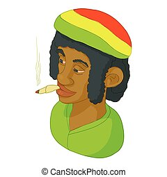 Rastaman icon, cartoon style - Rastaman icon in cartoon...