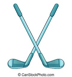 Golf clubs icon, cartoon style - Golf clubs icon in cartoon...