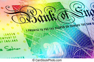 Pound currency background - 20 Pounds - Rainbow - Pound...