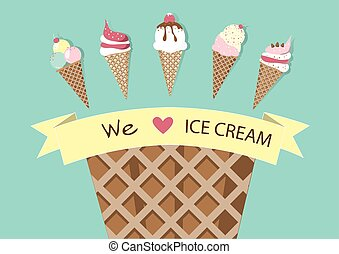 Set of ice cream cones. Design card. Vector illustrations