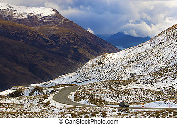 crown range road wanaka to queenstown new zealand