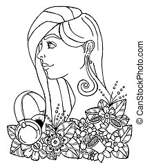 Vector illustration girl and headphones in the flowers....