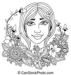 Vector illustration  girl with flowers in her hair. Doodle drawing. Meditative exercise. Coloring book anti stress for adults. Black white.