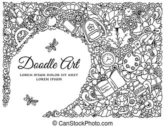 Vector illustration , frame with school supplies. Back to . Doodle drawing. Meditative exercise. Coloring book anti stress for adults. Black and white.