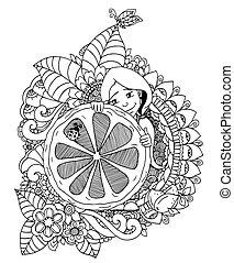 Vector illustration , girl holding lemon in the flowers....