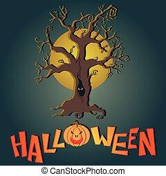 Vector post card Happy Halloween - Vector post card for...