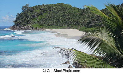 rough see hiding tropical island audio - whitecaps on sandy...