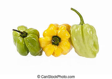 Vegetables of small yellow and green chili pepper habanero...