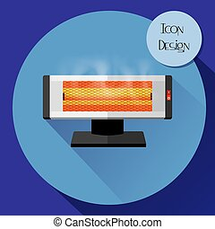 Infrared electric heater. Design icons in flat style.