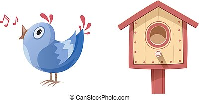 Bird sing song and nesting box. Vector illustration....