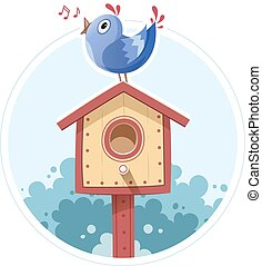 Bird sit and sing on nesting box. Vector illustration....