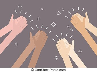 Human hands clapping ovation. vector illustration