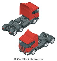 Heavy truck with the trailer. Isometric vector illustration....