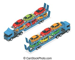 Isometric Car transport truck on the road with different...