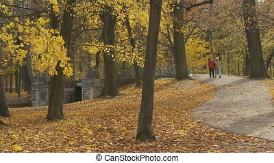 senior couple walking through park in autumn