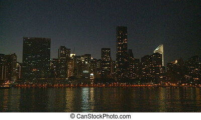 skyline manhattan at night - skyline manhattan east river at...