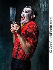 a, assustador, Palhaço, segurando, Um, faca, ligado, dack,...