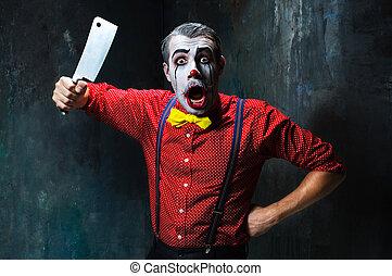 assustador, conceito, dia das bruxas, Palhaço, faca,...