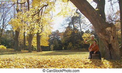 senior couple in park in autumn