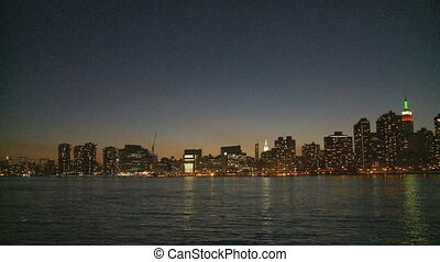 pan shot skyline from east river - pan shot skyline...