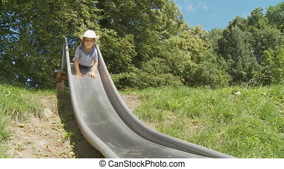 kids on slide