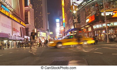 night on streets of manhattan - New York City, Manhattan...