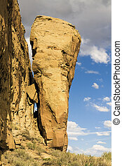 Famous Rock in Chaco Culture, New Mexico.