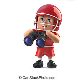3d American football player has a pair of binoculars - 3d...