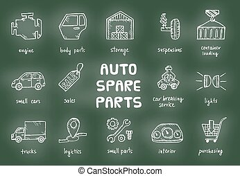 Set of auto spare parts. Car recyclers and scarp breaker...