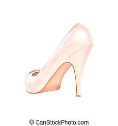 Pink high heel women shoe.