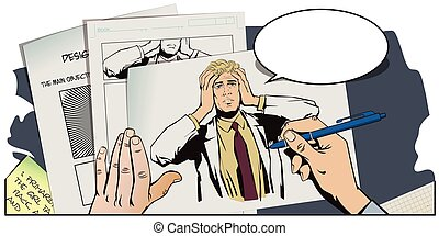 Hand paints picture. Upset man clutching his head. - Stock...
