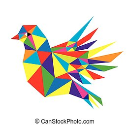 Flying Bird - Geometric Flying Bird, polygonal art vector...