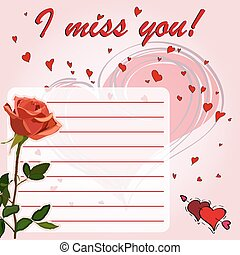 I miss you - Greeting card I miss you! with flowers red...
