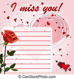 Greeting card I miss you! with flowers red rose
