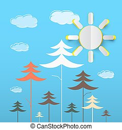 Trees Cartoon. Vector Forest with Clouds on Blue Background. Paper Cut Sun on Nature Background.