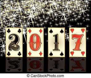 New 2017 year casino greeting card with poker elements,...